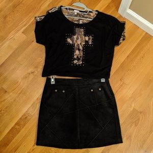 NWOT- Suede Leather Patchwork Mini Skirt